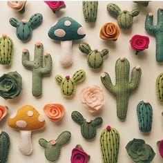 Felt Cactus Magnets from Etsy seller lunabeehive. Felt Diy, Felt Crafts, Fabric Crafts, Sewing Crafts, Diy And Crafts, Sewing Projects, Craft Projects, Arts And Crafts, Felt Magnet