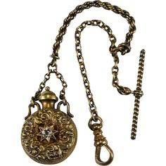 Antique Georgian Perfume Bottle Pendant Gold Watch Fob Chain