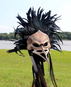 Large & Dramatic Gore Crow Skull -. Handmade Leather Mask