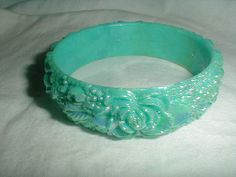 aurora borealis carved plastic bangle by qualityvintagejewels, $14.00