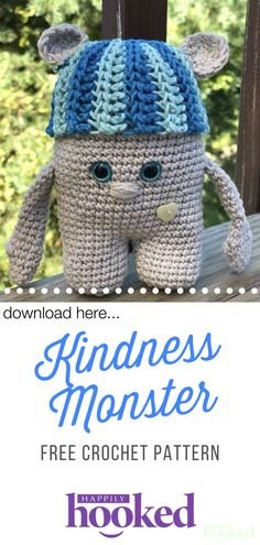 The Kindness Monster is a free crochet by Happily Hooked Magazine. Let's spread some kindness in these troubling times. Crochet Patterns Amigurumi, Crochet Yarn, Easy Crochet, Crochet Toys, Free Crochet, Crochet Monsters, Crochet Animals, Knitting Projects, Ideas