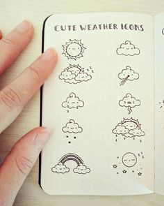 Super adorable weather planner doodle icons for cute bullet journal ideas - Minimal Journaling - Doodle Drawings, Doodle Art, Planner Doodles, Planner Journal, Cute Journals, Bullet Journel, Weather Icons, Bullet Journal Inspiration, Journal Pages