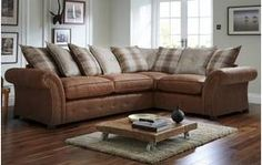 Woodland Left Hand Facing 3 Seater Pillow Back Corner Deluxe Sofa Bed Oakland Dfs Sofa, Sofa Bed, Couch, Corner Sofa Units, Leather Fabric, Space Saving, Sofas, Pillows, Woodland