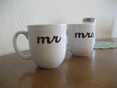 White Mr & Mrs Hand Painted Coffee Mugs  Ready To by Dustyroadgurl, $22.00