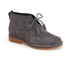 """Hush Puppies 'Cyra Catelyn' Chukka Bootie, 1"""" heel ($99) ❤ liked on Polyvore featuring shoes, boots, ankle booties, ankle boots, dark grey suede, suede boots, short suede boots, lace up boots, chukka boots and suede ankle booties"""
