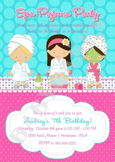 Spa Pajama Party Invitation - DIY Print Your Own  - Choose Your Girls - Matching party printables available on Etsy, $11.00