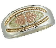 Mens Black Hills Gold Sterling Silver 10k Gold Rope Braids Wedding ring sz 9