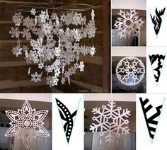 Create your own snowflake mobile to hang in the middle of your room by cutting out paper snowflakes from any template like the ones found here: http://www.firstpalette.com/tool_box/printables/snowflake.html and then stringing them in place. A different tutorial can be found here: http://www.littleloveliesbyallison.com/2011/12/snowflake-mobile.html