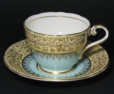 Vintage Aynsley Blue Yellow Gilt Trim Tea Cup