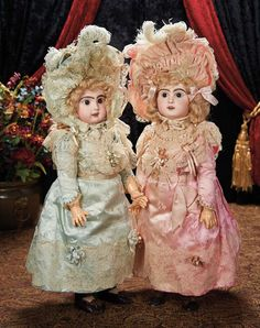 Fabulous Pair of French Bisque Bebes by Emile Jumeau with Superb Original Costumes 6500/9500