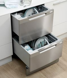 Have a standard-size dishwasher opening? Most double dishwasher drawers can be installed into the standard 24-by-36-inch dishwasher opening without any modifications.This configuration can be especially useful when a traditional dishwasher door interferes with a walkway or extends into a kitchen island