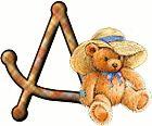 Alfabeto de ositos con sombrero de playa.