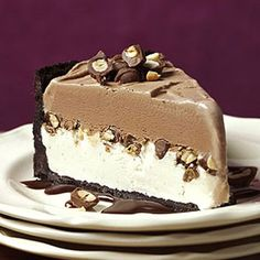 Chocolate-Peanut Ice Cream Cake....chocolate cookie crust, a chocolate-covered peanut filling and topping, and a layer of chocolate ice cream.