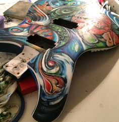 Painted Guitars, Guitar Painting, Rubber Rain Boots, Hand Painted, Colorful