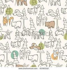 Woodland Creatures Pattern Stock Vector 63583342 : Shutterstock