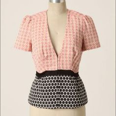 Elevenses peplum jacket for Anthro Like new jacket with pink diamond pattern on top and black dots on the bottom. Hook and eye closure and sweet bow at the back. Lined. Anthropologie Jackets & Coats