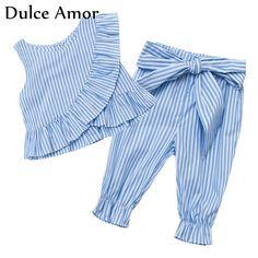 Dulce Amor 2 PCS/set Summer Baby Girl Clothes Set Cotton Sleeveless Striped Flounces Vest Tops + Bow Pants Girls Clothing Sets-in Clothing Sets from Mother & Kids on Aliexpress.com   Alibaba Group