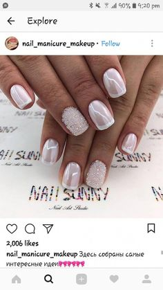Installation of acrylic or gel nails - My Nails Fancy Nails, Trendy Nails, Love Nails, My Nails, White Sparkle Nails, White Chrome Nails, Fabulous Nails, Gorgeous Nails, Acrylic Nail Designs
