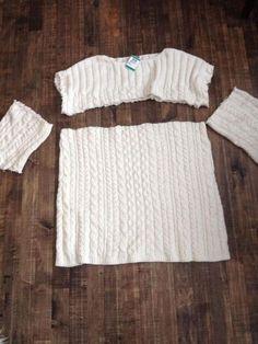 L'idée de recouvrir un coussin avec un tricot de laine ne date pas d'hier. Mais on retrouve de plus en plus d'idée pour récupérer aussi les manches! Certains les utilisent pour recouvrir des vases à fleur Et d'autres s'en servent comment bas de récha