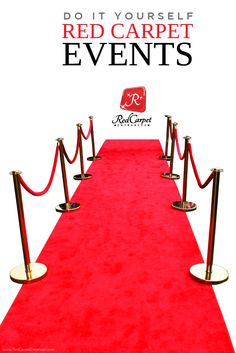 DIY Red Carpet Events and Hollywood Theme Parties! Custom cut carpet runners and area rugs specifically designed for VIP experiences. Great for your special event, venue, or promotion! Any size, shape, or color! 24 Hour Production Turnaround. We print Red Carpet Backdrops and Step and Repeats too! We are here to help you build the event of your dreams!
