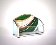 Green Swirl Stained Glass Business Card Holder by AfricanSand on Etsy Stained Glass Projects, Stained Glass Patterns, Business Card Holders, Business Cards, Glass Jewelry Box, Glass Office, Candle Box, Office Items, Glass Boxes