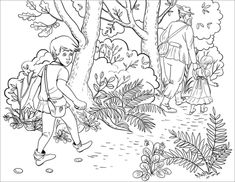 Hansel Throwing One of the White Pebble Stones out of His Pocket on the Road White Pebbles, Rainy Day Activities, Pebble Stone, Pin Cushions, Coloring Pages, Fairy Tales, Moose Art, Sketches, Prints