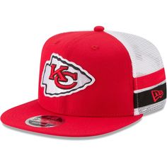 watch 18992 5ddb6 Men s Kansas City Chiefs New Era Red White Striped Side Lineup 9FIFTY  Adjustable Snapback Hat