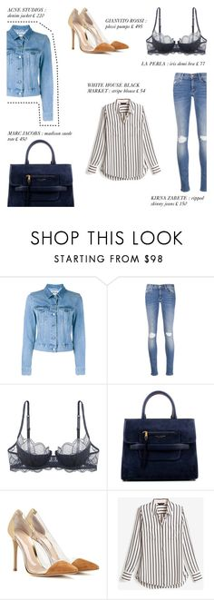 """""""Denim Jacket : SS16"""" by rachaelselina ❤ liked on Polyvore featuring Acne Studios, Mother, La Perla, Marc Jacobs, Gianvito Rossi, White House Black Market, denimjackets and WardrobeStaples"""