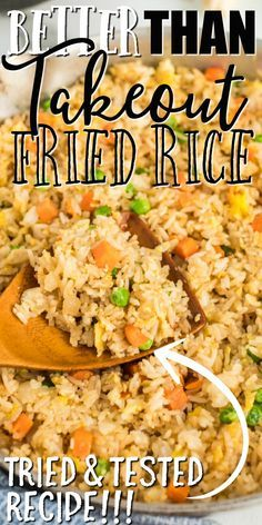 Better Than Takeout Fried Rice - This quick and easy fried rice recipe is better than take out. It's restaurant style, but created - Better Than Takeout Fried Rice - This quick and easy fried rice recipe is better than take out. It's restaurant style, bu Homemade Chinese Food, Easy Chinese Recipes, Easy Rice Recipes, Asian Recipes, Chinese Rice Recipe, Quick And Easy Recipes, Jasmine Rice Recipes, Easy Stirfry Recipes, Recipes With Brown Rice
