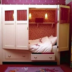 tween girl bedroom idea for hideaway bed with hinged doors for @catherine gruntman H ...this would be sooo cool for your room.