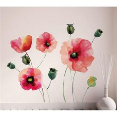 Decorate for Valentine's Day with these pretty pink poppy wall decals! #valentines #walldecals #decoratingideas