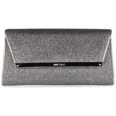 Jimmy Choo Margot Glitter Lame Clutch Bag (4.085 VEF) ❤ liked on Polyvore featuring bags, handbags, clutches, purses, anthracite, glitter clutches, jimmy choo purses, black evening purse, chain strap purse and black purse