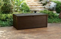 Keter Brightwood 120 Gallon Outdoor Resin Garden Patio Storage Furniture Deck Box ** (paid link) Continue to the product at the image link.