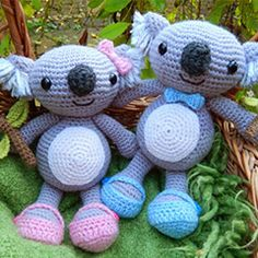 Karl and Karla Koala amigurumi crochet pattern by Janine Holmes at Moji-Moji Design $4.50