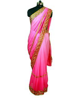 Multicolor Pink saree with Gold cutwork & Pearl border|Sweta Sutariya
