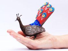 Peacock Soft Sculpture Peacock Bird Felt by FantailsAndFeet