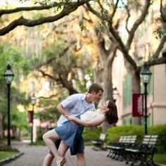 Downtown Charleston engagement session on the historical grounds of the College of Charleston.