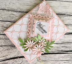 A blog about crafting, scrapbooking, embossing, airbrushing, DIY home decor, creativity and much more! Diamond Background, Baby Girl Cards, Pink Cards, Pink Themes, Cute Baby Girl, Flower Making, Hello Everyone, Artificial Flowers, Pop Up