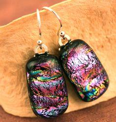 Sterling Silver Fused Glass Dichroic Earrings by paulasstressart, $20.00