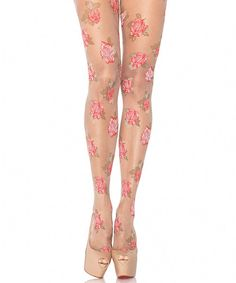 Spruce up any ensemble in seconds by slipping on a pair of these flirty tights. Swept with a feminine floral print, they're sweet with a dash of spunk.85% nylon / 15% spandexMachine wash; tumble dryImported