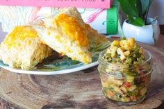 peach and jalapeño salsa with cheddar scones