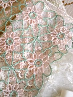 Gorgeous Pink and Green Tatting Doily