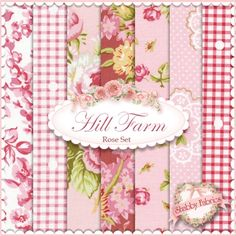 """Hill Farm  7 FQ Set - Rose by Brenda Riddle for Lecien Fabrics: Hill Farm is a lovely collection by Brenda Riddle that was inspired by yesteryear.  Lecien Fabrics.  100% cotton.  This fat quarter set contains 7 fat quarters, each measuring approximately 18"""" x 21""""."""