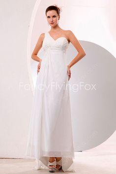 High Low Hem One Shoulder White Chiffon Casual Beach Wedding Dresses