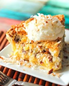 This Island Pecan Pie recipe comes from a famous pie diner in Arkansas. It is loaded with pineapple, coconut, and pecans in a delicious creamy filling. You have got to try this Island Pecan Pie! Pecan Desserts, Coconut Desserts, Pecan Recipes, Pie Recipes, Just Desserts, Delicious Desserts, Dessert Recipes, Family Recipes, Recipies