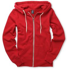 Zine Girls Solid Red Zip Up Hoodie ❤ liked on Polyvore featuring hoodies, jackets, hoodies and sweaters and shirts