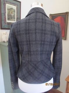 ANTHROPOLOGIE-TULLE-CHARCOAL-GRAY-BLK-SUBTLE-PLAID-WOOL-FITTED-BLAZER-SZ-M-NWOT