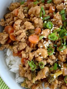 Teriyaki chicken rice bowls are a 30 minute dinner. Ground chicken, broccoli, and carrots simmer on the stove top in a delicious and simple teriyaki sauce. Teriyaki Chicken Rice Bowl, Chicken Rice Bowls, Teriyaki Sauce, Chicken Broccoli, Meat Recipes, Asian Recipes, Dinner Recipes, Cooking Recipes, Healthy Recipes