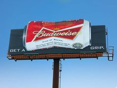 Get A Grip. #OOH #Budweiser Billboard, Broadway Shows, My Favorite Things, Poster Wall