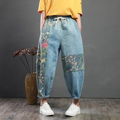 how to look classy and elegant in jeans, Shop here you will get more inspiration. The Vintage Patch Designs Loose Harem Jeans! Harem Jeans, Women's Jeans, Patched Jeans, Tie Dye Jeans, Skinny Jeans, Retro Outfits, Vintage Outfits, Casual Outfits, Tomboy Outfits
